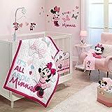Lambs & Ivy Disney Baby Minnie Mouse Love 3-Piece Pink Nursery Crib Bedding Set