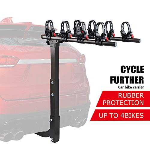 X-BULL Sports 4-Bike Hitch Racks Double Foldable Rack, Hitch Rack Suitable for Cars, Trucks, SUV's, General Purpose Adjustable Frame Adapter and Adjustable Bolt for Spare Tire Racks