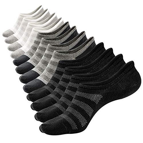 Mens Low Cut No Show Mesh Top Fresh Cotton Casual Non-Slide Socks,6 Pairs (Size 8-11)