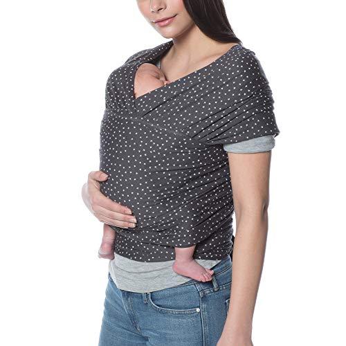Ergobaby Babytragetuch für Neugeborene ab Geburt bis 11kg, Aura Wrap Twinkle Grey Baby Tragetuch Elastisch, Sling Wickeltuch