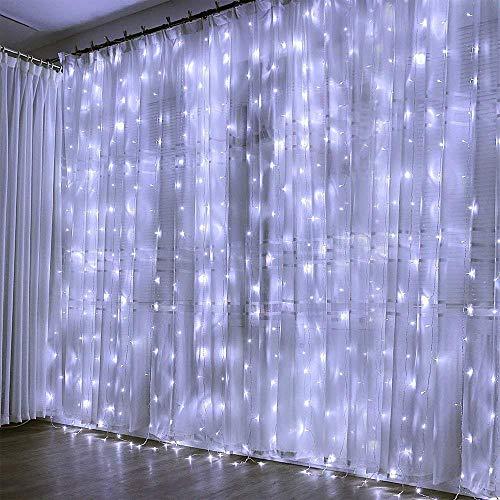 Preisvergleich Produktbild KOBWA Vorhang Lichter,  300 LED Fairy String Lichter mit 8 Modi Fernbedienung für Fenster Vorhang,  Terrasse Rasen,  Hochzeit,  Party Dekoration