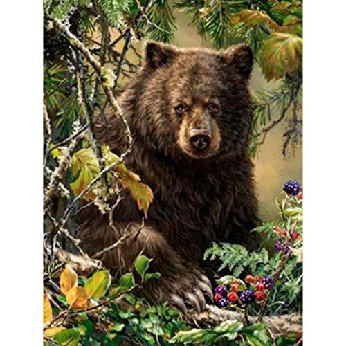 NuoNi completo redondo oso bordado de diamantes 5D DIY diamante pintura mosaico decoración del hogar
