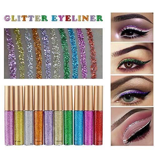 Freeorr 10 Farben Liquid Glitter Eyeliner, Metallic Shimmer Glitter Eyeshadow, Langlebiger...