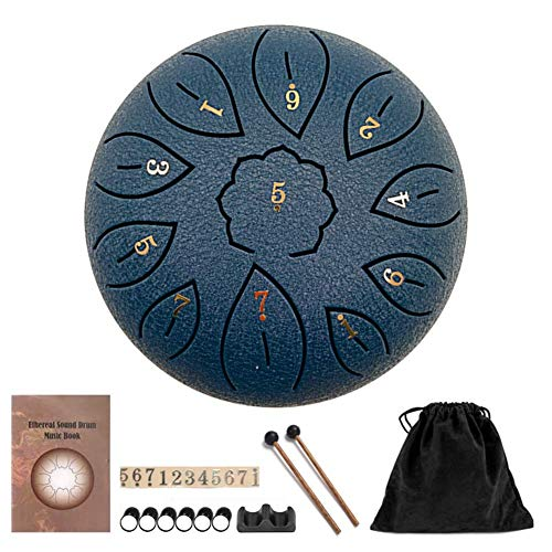 SOBW Steel Tongue Drum Portable Hand Drum 6 Inch Percussion Instrument 11 Notes Tongue Drum Handpan Drum with Drum Beaters Carry Bag for Meditation Yoga Music Therapy Camping (navy)