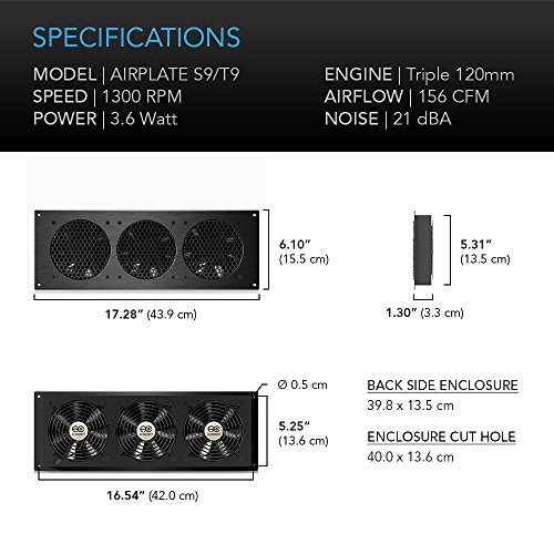 """AC Infinity AIRPLATE S9, Quiet Cooling Fan System 18"""" with Speed Control, for Home Theater AV Cabinet Cooling"""