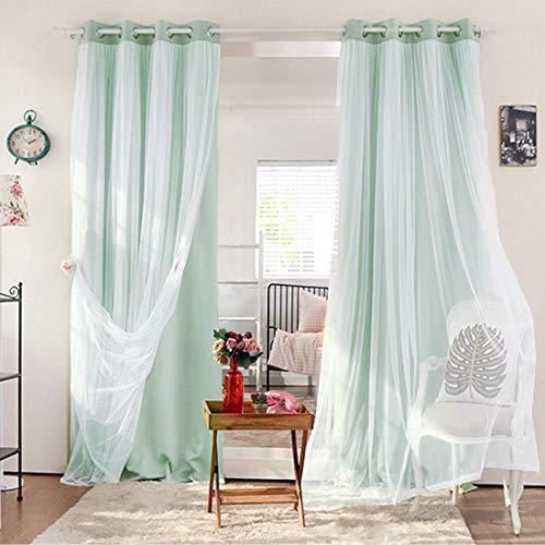 cortinas salon estampadas verde agua
