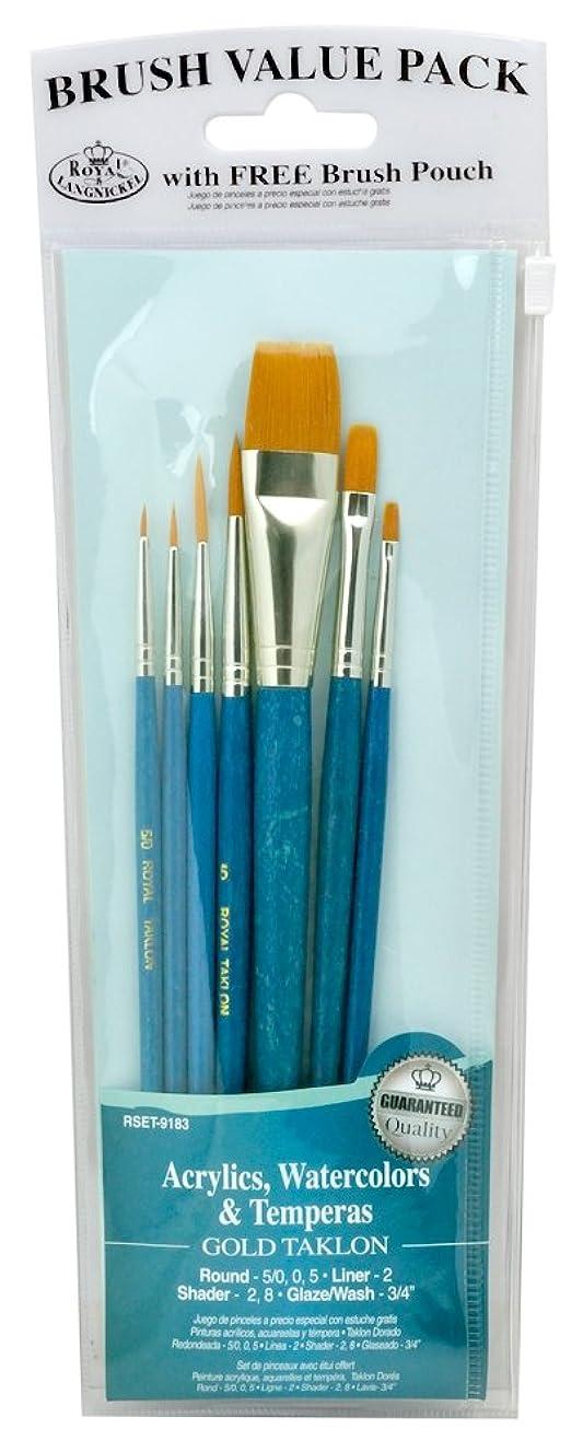 Royal Brush Manufacturing Royal and Langnickel Zip N' Close 7-Piece Brush Set, Taklon Filbert