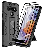 Dahkoiz Case for LG Stylo 6 Case with Tempered Glass Screen Protector[2 Pack], Rugged Ring Grip LG Stylo6 Kickstand Case Cover Military Grade Protective Phone Cases for LG Stylo 6, Black