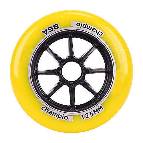 TGHY 2 Piezas Rueda de Patín en Línea para Patinaje de Velocidad 100mm 125mm Rueda de Patinete Rueda de Repuesto 86A PU,Amarillo,125mm