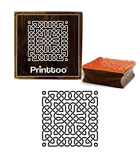Printtoo Celtic Pattern Scrap-Booking Wooden Rubber Stamp Card Making Square Stamps-2 x 2 Inches