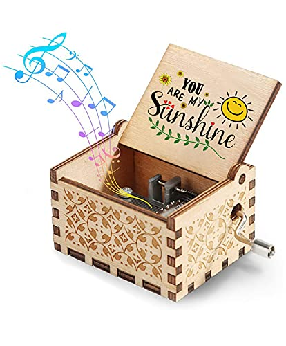 Hexagram You are My Sunshine Wood Music Box,Hand Crank Retro Laser Engraving Hand-Granked Music Box, Suitable Gifts for Birthday/Christmas/Valentine's Day/Thanksgiving/Anniversary/Mothers Day