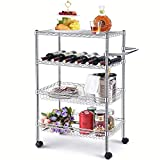 TOOLF Rolling Utility Cart ,4-Tier Storage Wire Racks, Height Adjustable Organizer, Wide Shelving Unit for Hotel, Restaurant, Home, Kitchen