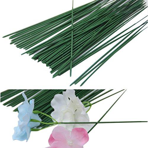 Yalulu 50Pcs Fil De Fer Vert Foncé Fleur Tige pour Fleuriste