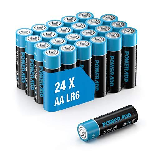 Poweradd AA Batterien 24 Stück, AA Alkaline Batterien, LR6 AA Mignon Batterien 1,5 V Akku 10 Jahre Haltbarkeit für Fernbedienung Radio Wecker und Uhr
