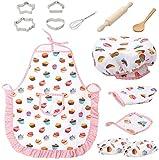 Kinderküche Zubehör,Küchenspielzeug Rollenspiel Küchenutensilien Mit Kochschürze Kochmütze Ofenhandschuh Besteck Küchenzubehör Für Mädchen