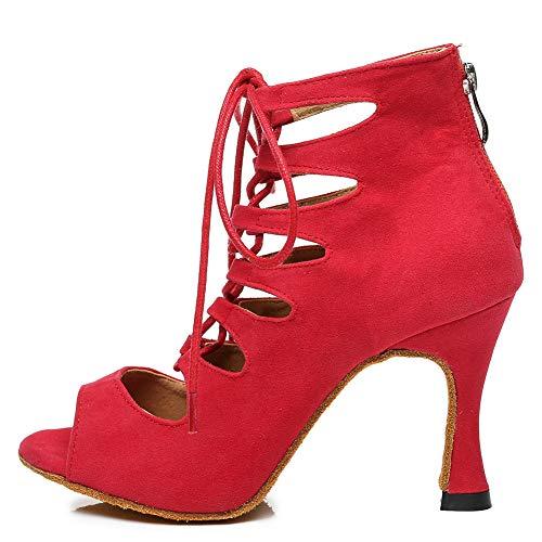 HROYL Botas de Baile Latino Mujer Zapatos de Baile de Salon,L456,Rojo-7.5,EU37.5