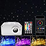Twinkle Starlight Headliner Kit for Car Home Indoor LED Fiber Optic Lights Star Ceiling Lights Kit Twinkling Music Sync 10W RGBW APP/Remote Optical Fiber Cable 350 Strands 0.03in 9.8ft
