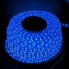 LED イルミネーション 3芯 角型 ロープ ライト 2500球 (50m) ブルー 青 点灯 パターン 28 種類 コントローラー 付 PSE 取得品 防水