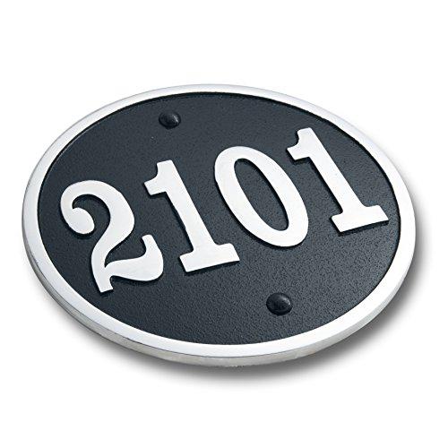 The Metal Foundry Plaque de numéro de Maison Ronde Personnalisable Plaque Traditionnelle en Laiton coulé avec Options de numéro et de Lettre, Aluminium, Large 5 Number Max