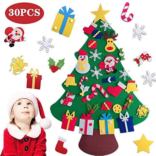 BangShou Albero di Natale per Bambini in Feltro Felt Fai-da-Te Christmas Tree Set Decorazione della Parete Porta Decorazione di Natale