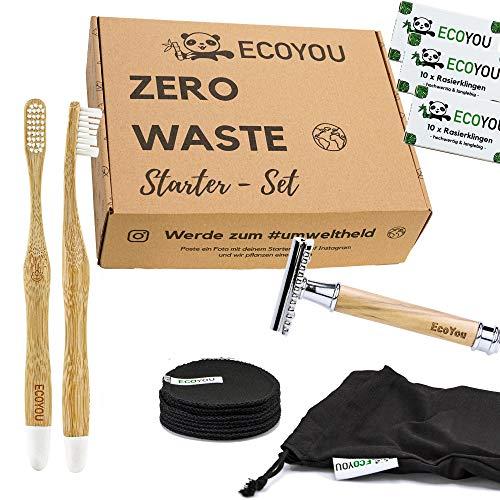 EcoYou® Zero Waste Set Bad Geschenkset- Hochwertiger Rasierhobel aus Olivenholz, Waschbare Abschminkpads, 2 x Bambus Zahnbürsten und Rasierklingen - in Geschenkverpackung