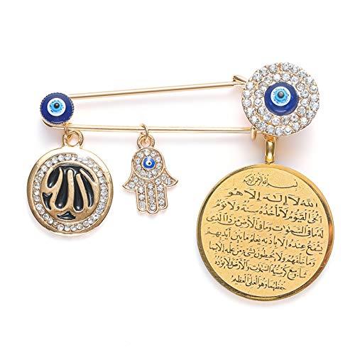 DONGMAISM Brooch Muslim Islam Allah Evil Eye Hand Brooch Pin (Metal color : Gold color)