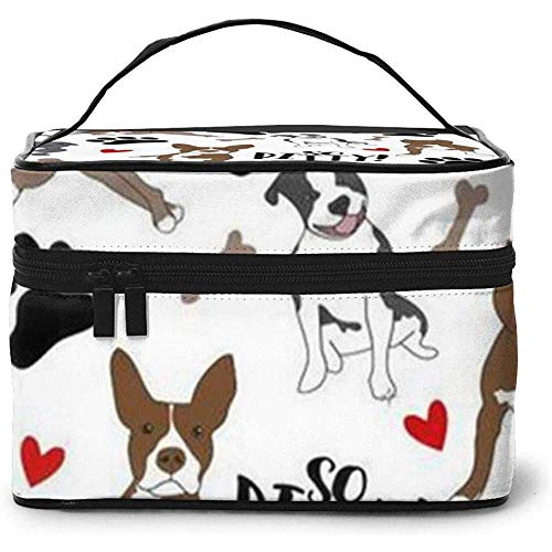 Love Dog, Dog Footprint Portable Ladies Travel Cosmetic Case Bag Storage Makeup Pouch Multi-Function Wash Large Capacity