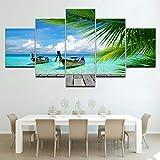 5 Stück Leinwanddrucke Strandmalerei Wandkunst Anime Home Decor Panels Poster Modulare Bilder für Wohnzimmer(size2)