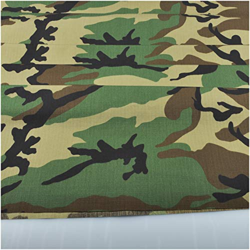 Woodland Camouflage Cotton Blend Army Military Fabric Cloth