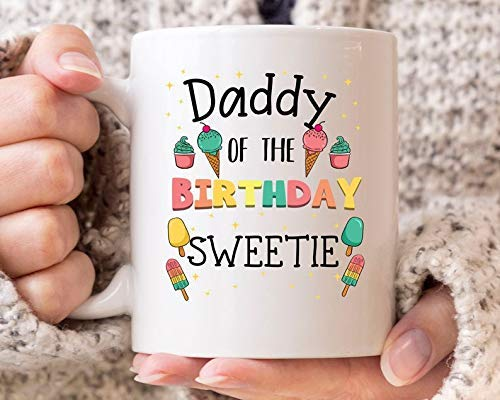 N\A Daddy of The Birthday Sweetie Mug Divertido Helado con Cuchara Taza de café para Padres Fiesta de cumpleaños de Helado para papás y papá