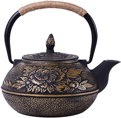 Bouilloire induction Théière non revêtue Théière en fer de théière Pot Peony Big Iron Pot 900 ml Noir 18x16cm WHLONG