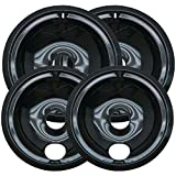 GE/Hotpoint Drip Pans 4-pc. Set - Black (2 Large/ 2 Small)