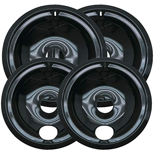 Range Kleen P119204X Style B 4 Pack Round Black Porcelain Drip Pans, Multipack