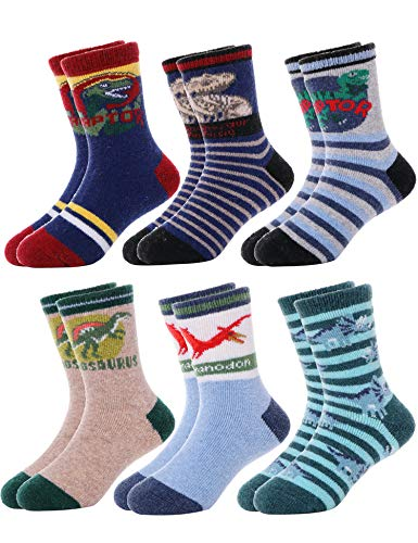 6 pares de meias infantis de lã para meninos e meninas, Dinosaur-b, 8-12 anos