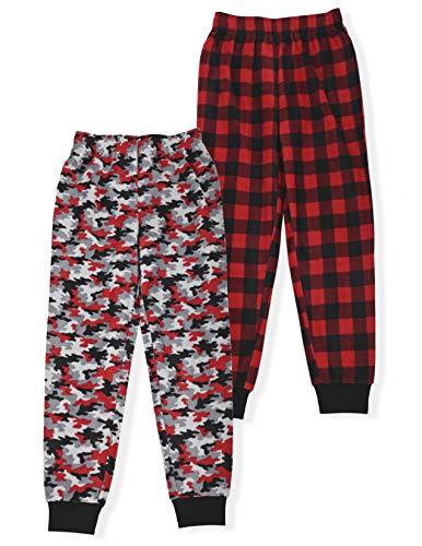 Hanes Boy's 2-Pack Micro Fleece Sleep Pant, Red Camo & Red Buffalo Plaid, Large