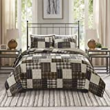 Madison Park Reversible Quilt Cabin Lifestyle Plaid Design All Season, Breathable Coverlet Bedspread Bedding Set, Matching Shams, King/Cal King(104'x94'), Black/Brown 3 Piece