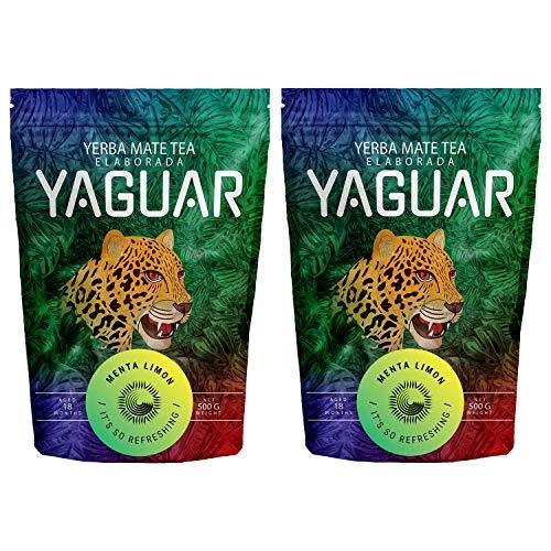 Yerba Mate Yaguar Menta Limón 1000g | Yerba Mate Tee mit Zitrone & Minze | Brasilianischer Mate Tee | Hohe Qualität | Erfrischender Mate Tee | 1000g (2x500g)