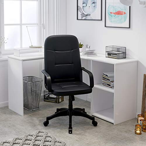 Hadwin Office Chair for Home,Leather Executive Desk Chair with Armrest High Back Ergonomic Computer Chair with Rocking Function Swivel Home Work Chair,Home/Office Furniture,Black