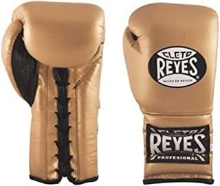 Cleto Reyes Boxing Training Gloves With laces and attached thumb - Solid Gold - 12-Ounce