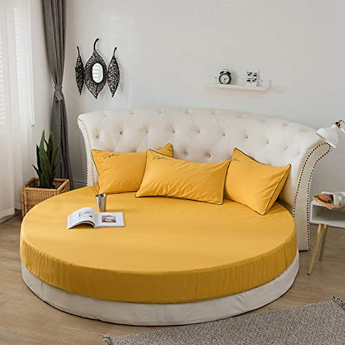 Redcolourful Baumwollmatratzenbezug Runder Bettschutz Hautfreundlich für Bettwäsche 220cm Durchmesser gelb