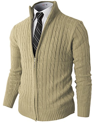 H2H Mens Slim Fit Full-Zip Kintted Cardigan Sweaters with Twist Patterned Beige US XL/Asia 2XL (KMOCAL032)