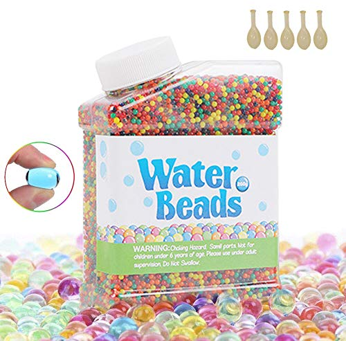 TOPSEAS Wasserperlen,60000 Stück Wassergel-Kugeln,Wasserperlen Gel-Perlen für Vasen Dekoration,Pflanzen,Blumen,gemischte Kristalle,Hydrogel-Kugeln für Dekoration und 5 Luftballons