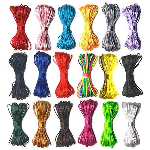 V-BEST 18 paquetes de cordón de nailon, 1,5 mm de satén/cuerda de seda de saqueo para collar y pulsera, cordón de rebordear, 10 metros cada paquete