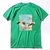 HUITAILANG T-Shirts pour Hommes Nouveauté Graphic Tee,Happy Hand Print, Cotton Top, Hip Hop Personn Alité Unisex, Green,X,Large