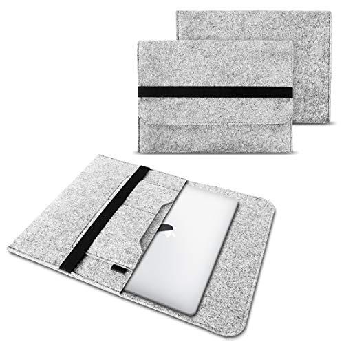 NAUC Laptop Tasche Sleeve Hülle Schutztasche Filz Cover für Tablets & Notebooks Farbauswahl kompatibel für Samsung Apple Asus Medion Lenovo, Farben:Hell Grau, Größe:15-15.6 Zoll