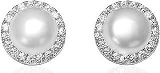 Sterling Silver Cubic Zirconia Feshwater Pearl Diana Stud Earrings