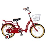 【組立済み】 ジェニファー (JENNIFER) レッド 16インチ 補助輪付き シングルギア ワイヤーカゴ付き パイプキャリア 幼児用自転車 キッズサイクル