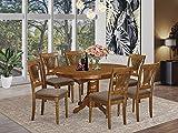 East West Furniture AVPL7-SBR-C Dining Set, Linen Fabric Seat