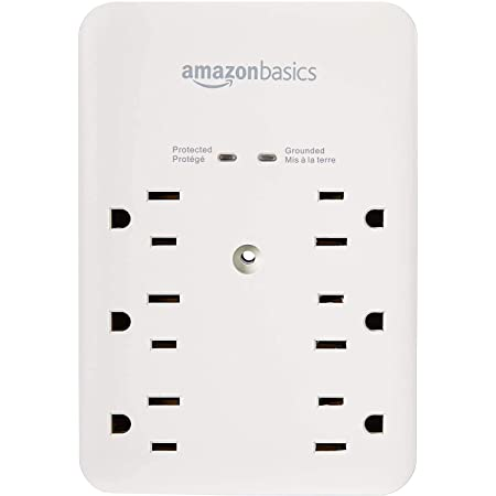 Amazon Basics 6 Outlet Wall-Mount Surge Protector, 1080 Joules