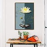 Estilo chino Simple Lotus Ink Poster Wall Art Canvs para sala de estar Inicio Fondo simple Pintura decorativa 13x18CM